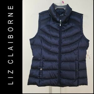 Liz Claiborne Woman Quilted Vest Size Medium Blue